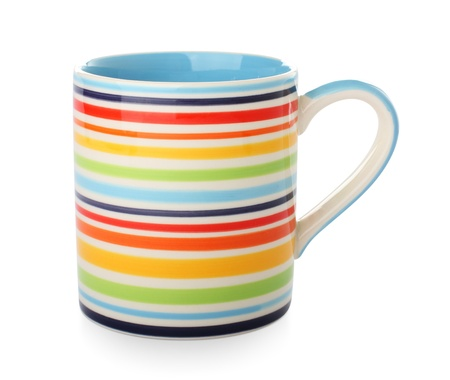 bright striped mug on a white Stock Photo - 14549003