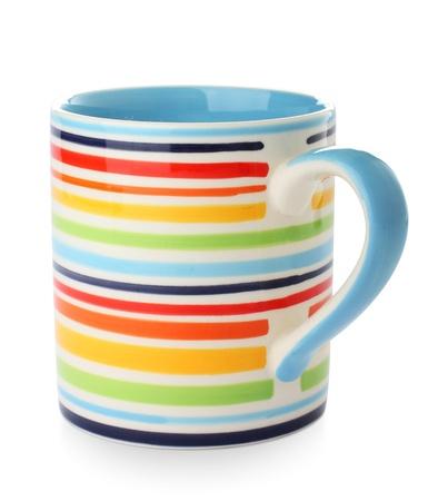 bright striped mug on a white