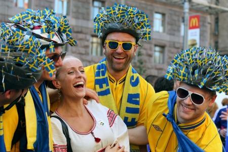 Swedish football fans on euro 2012 in Kiev. Ukraine.Photo taken on: June 19th, 2012 Editorial