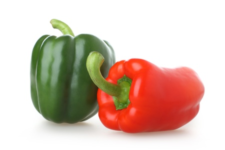 paprica: Two of brightly coloured capsicums
