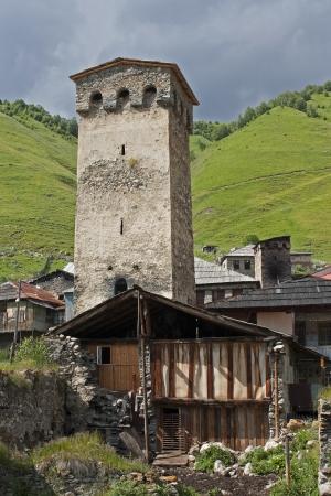 svaneti: Svaneti tower on Caucasus mountain  Village Adishi  Upper Svaneti, Georgia, Europe