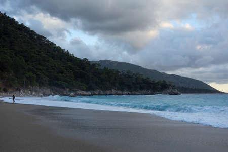 Evening Mediterranean beach in Turkey