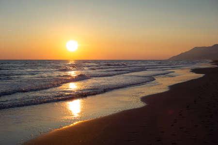 Mediterranean sunset on Patara beach, Mugla Province in Turkey.