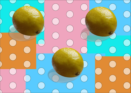Yellow juicy lemon on an abstract background of white circles and orange, pink, mint squares  イラスト・ベクター素材