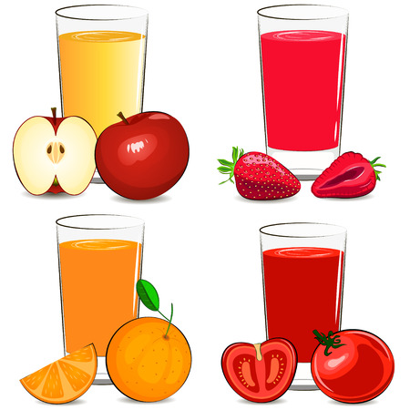 Set of vector illustration of fresh fruit and vegetable juice