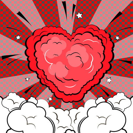 Explosion in form of heart. Isolated retro style comic book background. Illustration