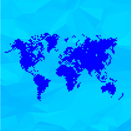 Blue World Map In Pixels On Crumpled Paper Background. Vecotr Illustration.