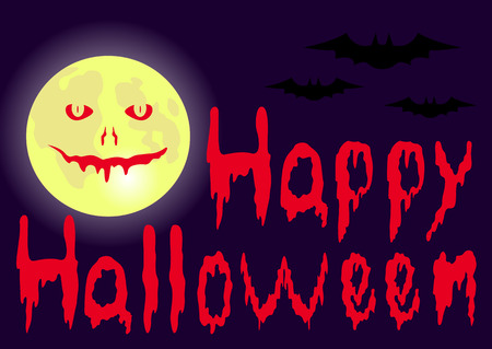 blooded: Halloween night background with moon and blooded inscription Happy Halloween. Vector illustration.