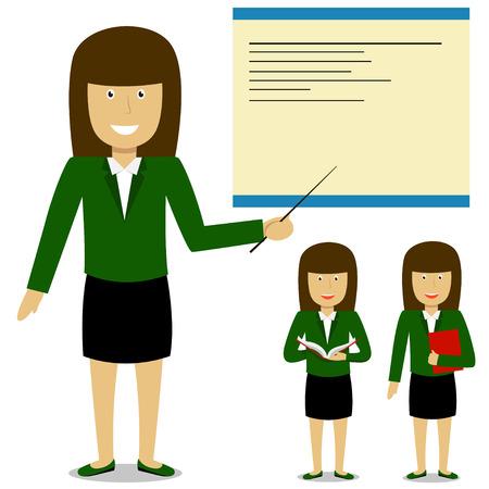 Cheerful teacher on lesson. Businesswoman report. Vector illustration