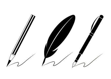 web site design: Set of pen icons. Writing materials symbols for your web site design,   app, UI. Vector illustration