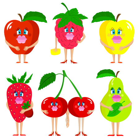 Cute lady fruits. Isolated fruits on whhite background.
