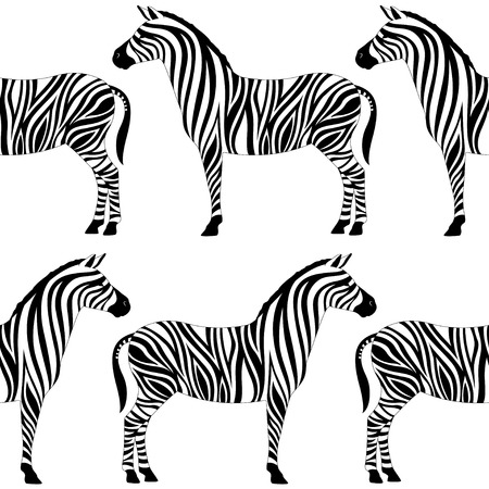 Seamless pattern with zebra silhouette on white background. Vector illustrations. African animals. Illustration