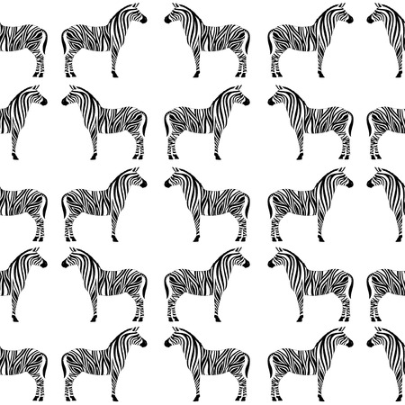 banding: Seamless pattern with zebra silhouette on white background. Vector illustrations. African animals. Illustration