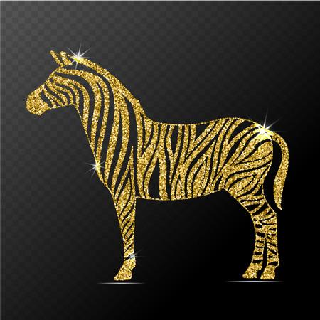 Zebra illustration. Stylized gold zebra isolated. Illustration