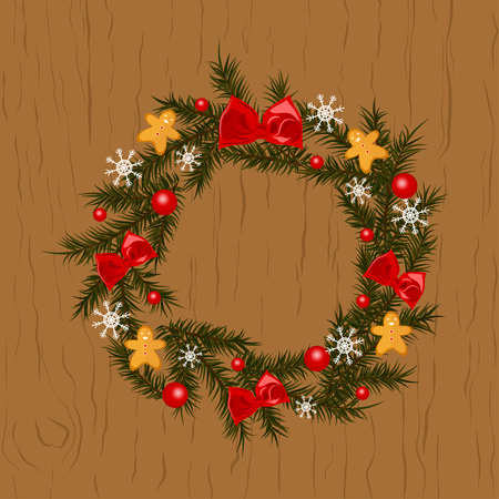 Christmas wreath on wooden background. Christmas wreath with snowflakes and bow on the door.