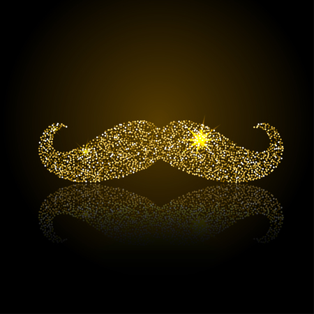 Gold retro mustache vector icon. Jewelry fake mustache.