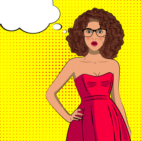 Pop art curly fashion woman in dress with glasses. Bubble sign.