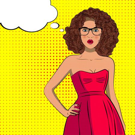Pop art krullend mode vrouw in jurk met een bril. Bellenteken.