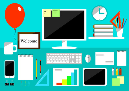 newbie: Realistic workplace organization. Top and side view with table, computer and smartphone, stickers, diary and coffee mug. Desktop vector illustration.