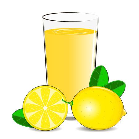 Vector Illustration des Glases mit Zitronensaft- und Zitronenzitrusfrucht.
