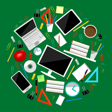 workaholic: Office supllies colored vector. Stationery tools collection. Clip, laptop, mug, book and tablet etc
