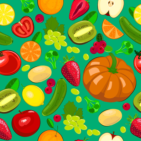 Seamless illustration of harvest fruits and vegetables. Seasonal seamless vector illustration.