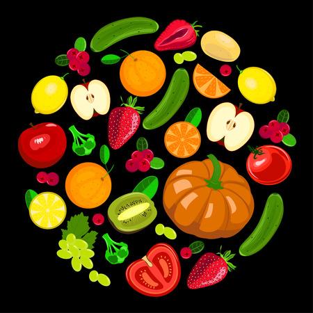 Collection illustration of harvest fruits and vegetables on black background. Seasonal vector illustration. Illustration