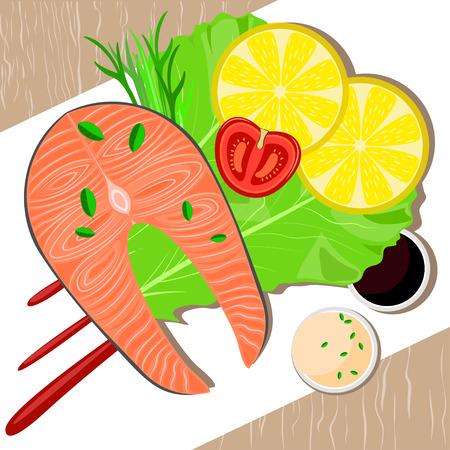 food plate: Fish dish on plate. Healthy food. Vector illustration