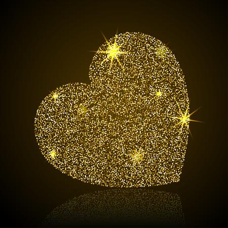 Heart vector illustration. Stylized gold heart isolated on dark background Illustration
