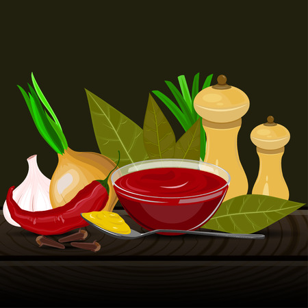 cloves: Condiments and spices vector illustration on the dark background. Spicy seasoning and flavoring vector illustration.