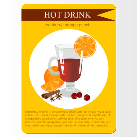 cloves: Cranberry orange punch cocktail. Cocktail menu item or sticker. Party hot drink in circle icon. Vector illustration.