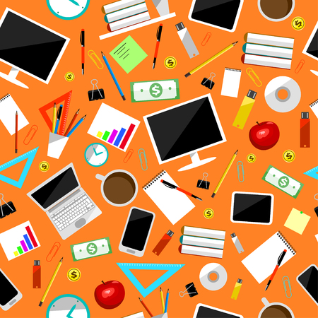 Business supplies and equipment seamless colored vector. Stationery tools collection. Clip, laptop, mug, tablet and currency