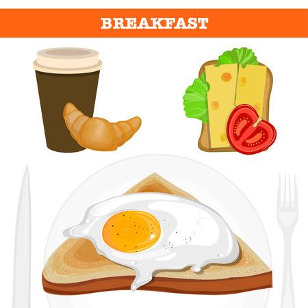 Full english and american breakfast vector illustration. Illustration