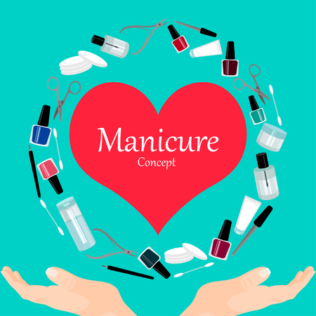 Professional manicure poster in flat style. Manicure concept with hands and heart. Vector illustration