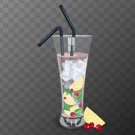 bocal: Refreshig drink with cranberry, lemon and mint vector illustration.