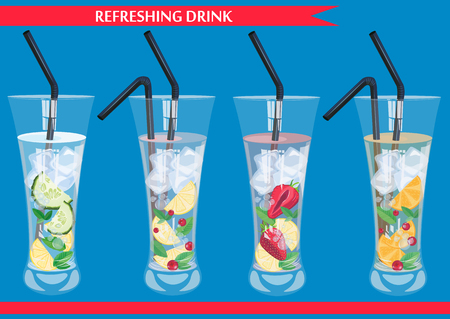 Set of refreshig drinks with cucumber, cranberry, orange, strawberry and mint vector illustration.