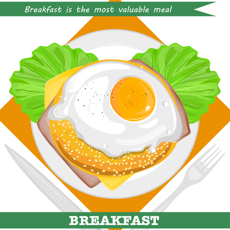 Valuable breakfast with sandwich and omelette vector illustration.