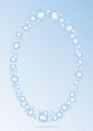 Zeepbellen achtergrond. Luchtbellen vector. Bubbels ovaal frame Stockfoto - 74793657