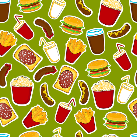 Fast food cartoon stickers and patches. Seamless food pattern. Vector illustration. Illustration
