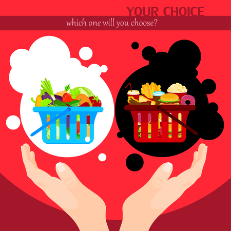 horn of plenty: Healthy food choice poster template. Junk food vs healthy food. Black or white choice. Vector illustration