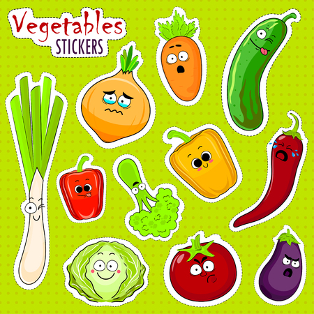 Cartoon vegetable cute characters face isolated vector illustration. Funny vegetable face icon vector collection. Cartoon face food emoji. Vegetable emoticon. Funny food stickers.