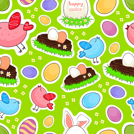 Happy easter vector seamless background. Easter eggs with birds and rabbit stickers.