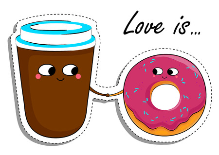 hot couple: Love Is... Donut and Coffee In Love Sticker.
