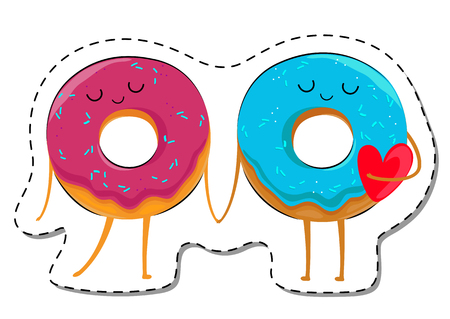 hot couple: Love Is... Donuts In Love Sticker. Illustration