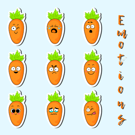 Cartoon carrot cute character face isolated vector illustration. Funny sweet vegetable face icon collection. Cartoon face food emoji. Carrot emoticon. Funny food sticker.