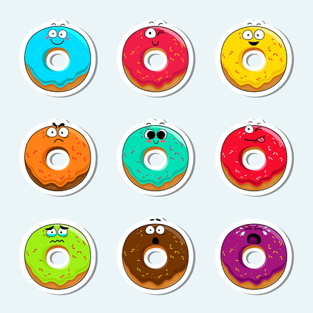 Cartoon donut cute character face isolated vector illustration. Funny sweet bakery face icon collection. Cartoon face food emoji. Carrot emoticon. Funny food sticker. Illustration