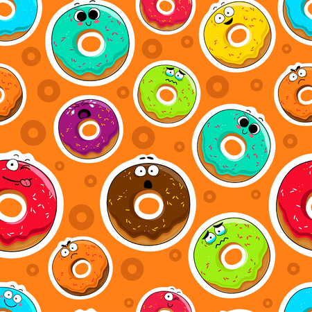 Cartoon donut cute characters face isolated vector illustration. Funny sweets face icon seamless background. Cartoon face food emoji. Sweets emoticon.