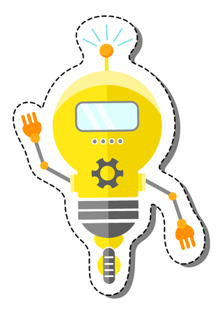 Yellow Cartoon Robot Character In Lightbulb Form On Wheel. Isolated vector robot sticker.