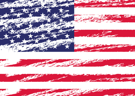 Creative Isolated USA Flag In Grunge Style. Vector Illustration.