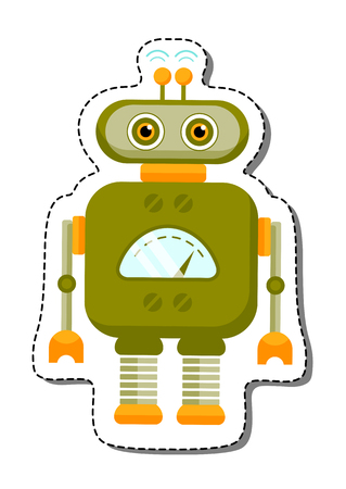 stuff toys: Green Cheerful Cartoon Robot Character With Two Antennas. Isolated vector robot sticker. Illustration